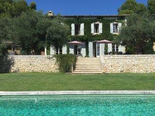 Villa Bastide luxe St Paul de Vence Nice Cannes 5 chambres piscine vue mer