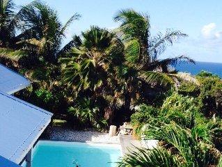 Belle villa tropicale vue mer avec piscine et grande terrasse