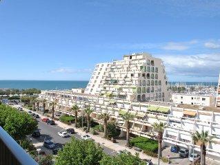 Studio climatisé 3-4 pers vue port et mer - Grande Motte