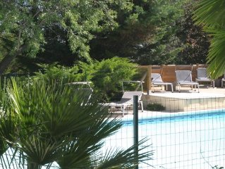 Lodging in a quiet property, wooded with pool