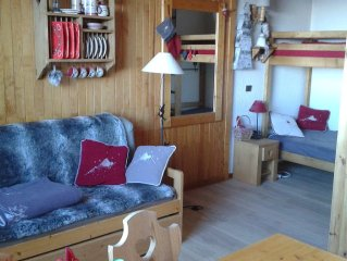 Belle Plagne: Studio 4 pers-situation ideale:sur piste-coeur de station 50m,wifi