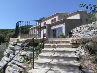 Panoramic house in the Cevennes, spa, sauna, fitness we, Cros Gard