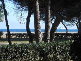appartement sur plage, magnifique vue mer et montagne,idéal avec enfants