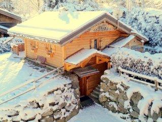 Chalet Sauna Chamonix Mont Blanc acces telecabine Prarion skis au pieds (5min)