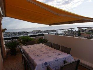 Canet-Beau 2 pièces+Cabine, Superbes Terrasse+Balcon Panoramiques Vues Mer
