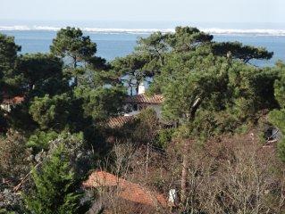 Pyla sur Mer Villa luxe 300 m plage. Vue mer Piscine chauffée Vélos Bateau Boule