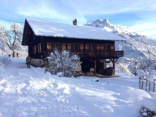Location chalet 12 personnes Mont Blanc Cordon ferme rénovée calme Vues!