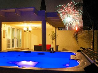 Walk with the kids to Disney, Watch Fireworks from the Hot Tub