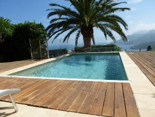 Villa with panoramic sea view pool in a quiet 5 min from the beach