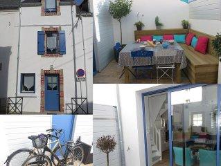 Maison de pecheur cosy 4*  centre, plage  + velos