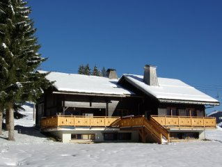 in Manigod-La Clusaz resort,big chalet on the slopes,comfortable,splendid view