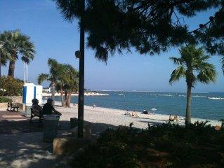 50 mètres de la mer Grand 2 pieces terrasse, très calme, entre Cannes et Monaco