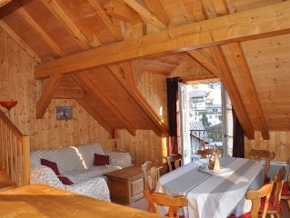 chalet style duplex apartment in the heart of St Gervais