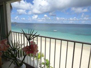 directement sur la plage, vue magnifique sur la mer des caraibes