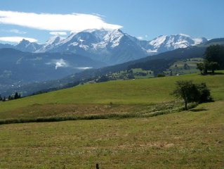 Rez de chaussée vue Mont-Blanc, très calme. Randonnée, ski, raquettes...