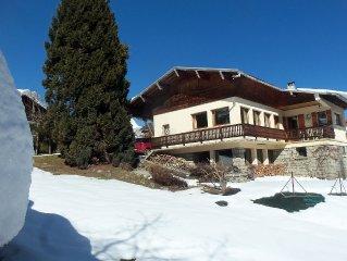chalet 135m²( 6/8 p) vue chaîne Mont-Blanc avec balcon, terrasses sud et jardin