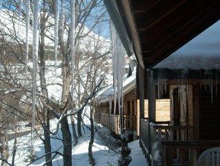 location chalet bois 6 pers - résidence av piscine sauna vue massif Lauziere