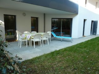ApConcarneau-centre,63 m2,jardin,plage,2chbres,parking prive,WiFi,toilette sep