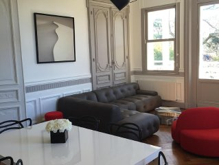 Luxueux appartement 140m2, terrasse, jardin, plage à 100m, rénové par architecte
