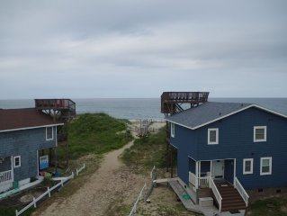 Semi-Oceanfront cottage, no streets to cross, fantastic location, dogs allowed.