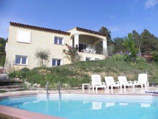 Haut de Villa avec piscine, adossée aux gorges du Verdon,  jusqu'à 8 personnes