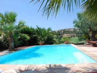 Villa luxury residential area with a golf course view pool