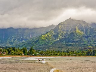 Waterfalls, Palm Trees, and Hanalei Bay,  Short walk to beaches and resorts