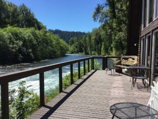Large McKenzie River front Lodge is a perfect getaway for family or friends