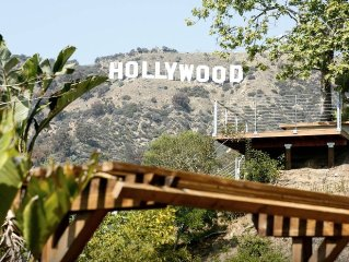 Relax On The Spacious Deck and Enjoy The Hollywood Sign and Lush Canyon Views
