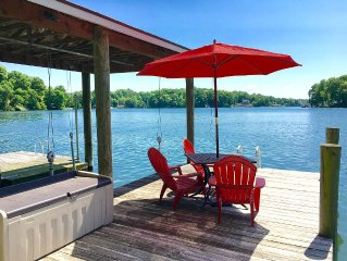 Lakefront Home w/ Amazing Views, Firepit, Huge Dock/Deck, TVs, WiFi & Pool Table
