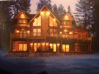 Gorgeous Log & Glass Home On Large Sunny Waterfront Lot, Waupaca Chain O' Lakes