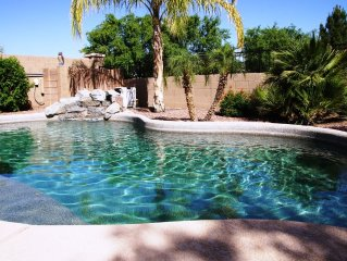 Private Desert Oasis with Tropical backyard, Optional Pool Heat, Built-in Gril