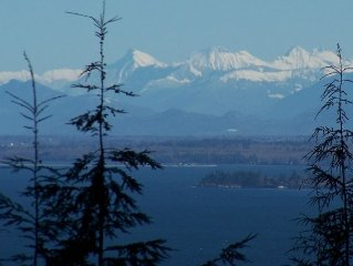 Take the long view of Cascades Mountains & Ocean / Delongview