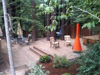 Redwood Retreat - Upscale Vintage Home with Sunny Private Deck in the Redwoods.