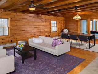 Family Friendly Modern Log Cabin Style 4+ Bedroom on 5 Acres of Rolling Hills