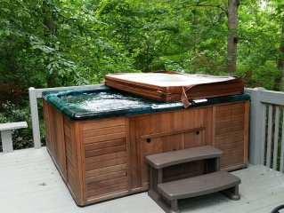 Fish from dock on award winning Fightingtown Creek - Hot Tub on cabin deck!
