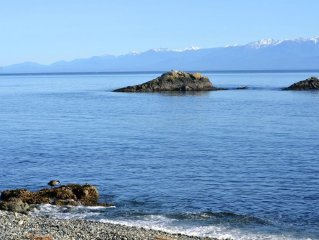 Right on the beach looking over Juan de Fuca straits