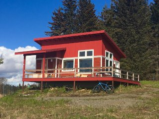Amazing views of Kachemak Bay and Cook Inlet from modern, new cabin.