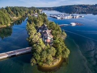 Reserve this exquisite 4 bedroom home on a private island in Phinney Bay, WA.