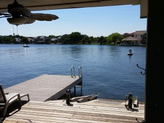 Waterfront in Horseshoe Bay, Texas.  Boat and Jet Ski docks out the back door.