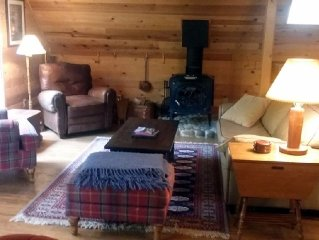 Peaceful Eclectic Cabin, modern amenities,Wifi,Hot tub,cable,riverfront, pets