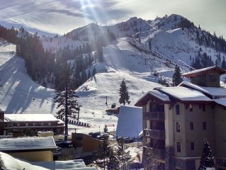 Squaw Valley Condo For Rent Ski In/Out,   Patio View of KT and Red Dog
