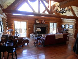 National Forest Log Home with Spectacular Views in Convenient Location