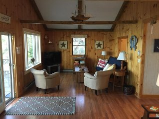 Scenic ocean views in Boothbay Harbor with a private beach