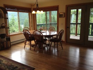 Swan Lake View Home on 15 acres. Log cabins also available for groups.