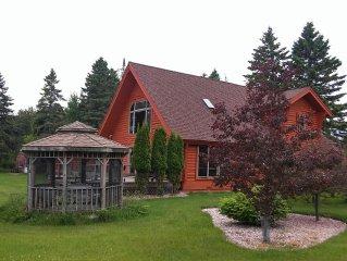 Majestic Log Home on 400feet of Lake Michigan Fro