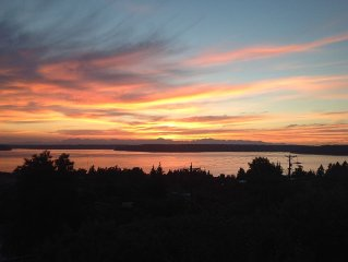 West sunset. Puget sound water,, and Olympic Mountain view!