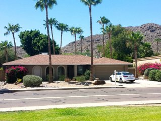Your base for hiking and biking South Mountain with private pool, palms, patio.