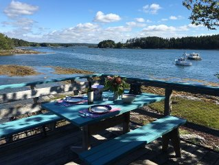 Quintessential Maine (lobster boats, birds, islands) from your Ocean's Edge deck