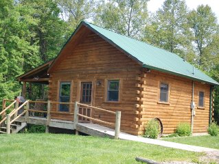 Hocking Hills getaway for two.  Lovely log home on 10 acres of woods and meadow